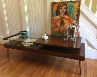 COFFEE TABLE MidCentury Danish Modern Cocktail Table c1950's Mahogany Wood and Glass Bi-level with Peg Legs Vintage Retro