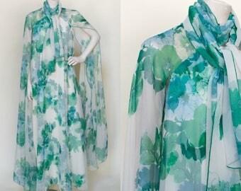 1970s Victor Costa Maxi Dress --- Vintage Floral Boho Dress
