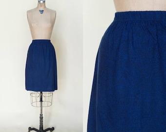 1960s Blue Vintage Knee Length Skirt Small