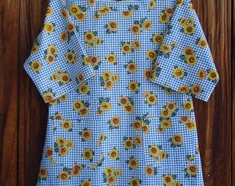 SIZE 6-8 The Mama San Mamasan Kappogi Full Coverage Smock Apron - Sunflowers on Blue Plaid Print - Size X-Small (6-8)