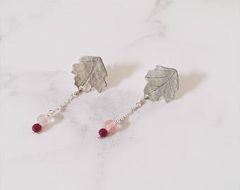 Sterling silver sycomore leaf earrings, pink strawberry quartz & ruby roots, Leaf-Life collection, silver leaf stud earrings