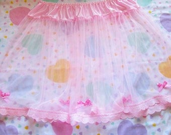 Sheer skirt, pink pastel slip retro lingerie fairy kei drag queen size XL 2X Extra Large bridal gift