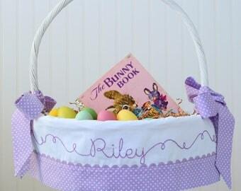 PRE-ORDER 2019 Purple Easter Basket, Personalized Easter Basket, Girls Easter Basket, Polka Dot Easter Basket Liner fits PBK Baskets