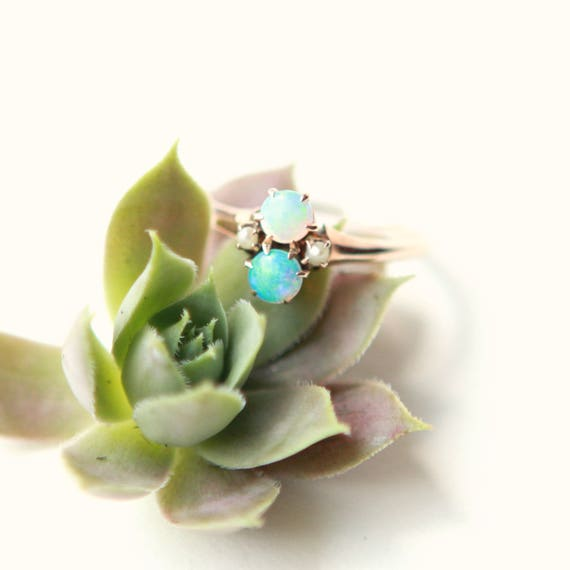 Antique opal ring, 14k rose gold, Double opal and pearl ring, Vintage two stone style, Engagement ring, Small simple ring, Gold opal, Size 5