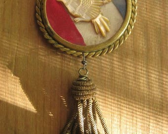 RESERVED ~ the Red White and Blue ~ antique bone eagle photo frame rosary tribal holiday necklace