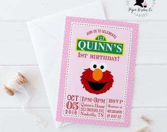 DIY Elmo 1st Birthday Party Invitation, Elmo Invitation, Elmo Girl Invitation, Elmo Party, Elmo printable invitation, Elmo invites