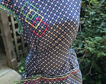 Vintage Ladies' Blue Floral and Geometric Print Cotton Smock Style Apron