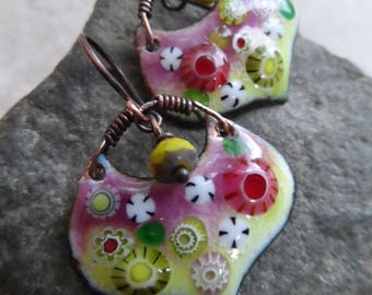 Summer Fun ... Artisan-Made Enameled Copper, Czech Glass and Copper Boho, Floral, Garden, Woodland Earrings