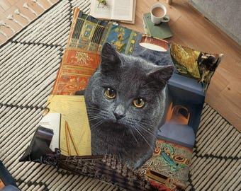 Floor PIllow Scorpio StarCat 36x36 Decorative Pillow Cover - Astrology Zodiac Art - October November Birthday Gift for the Cat Lover