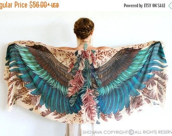 SALE Silk Shawl, Boho Wrap, Womens Cape Scarf, Womens Wrap, Bridesmaid Scarf, Feather Print Wrap, Engagement Gift, Bohemian Shawl, Rustic Sh