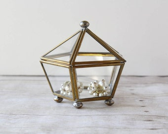 Small Brass and Glass Pentagon Box / 5 Sided Triangle Glass Jewelry Box / Display Case with Lid / Terrarium Container Trinket Box