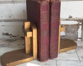 Vintage Wood Cross Bookends - Gold Painted