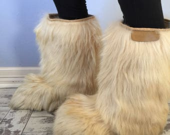Vintage Open Country Real Fur Ski Boots - 43/44 - Size 12.5 Womens or Mens 10.5