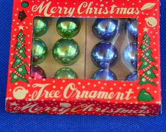 Blue, Green and Red Mini Mercury Glass Christmas Tree Ornaments - Merry Christmas Made in Japan - Set of 12 Vintage Globe or Ball Ornaments