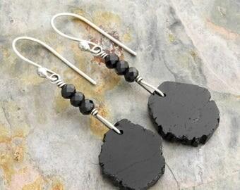 Black Tourmaline Earrings - Black Spinel Earrings -  Gemstone Slices - Sterling Silver - Dangle Earrings - Handcrafted Ear Wires - #4836