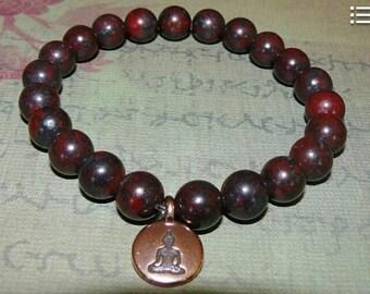 "Buddha Copper Drop Charm  Brecciated Jasper ""Clarity and Focus"" Reiki Bracelet"