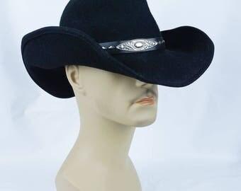 Vintage Western Cowboy Cattlemen Hat Black Wool Shovel Brim by J Hats Size 7