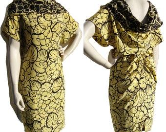 Vintage 80s Versace Dress Draped Back Silk Cocktail Yellow & Black Floral M
