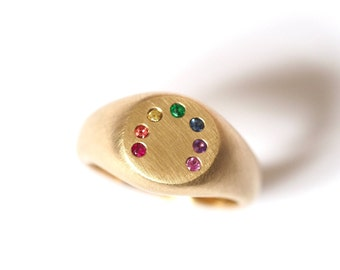 Rainbow Ring, Handmade Gold Rainbow Ring, Precious Everyday Ring, Multi Stone Ring, RockCakes, Brighton
