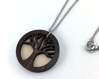 Tree Essential Oil Necklace, Essential Oil Jewelry, Tree of Life Pendant, Aromatherapy Necklace, Tree Diffuser Necklace, Laser Cut Jewelry