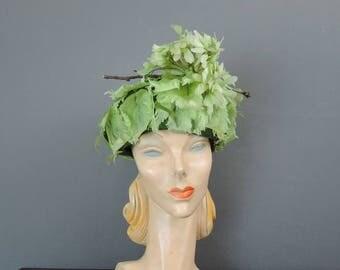 Vintage Hat Green Leafy Floral Hat by Emme New York, 1960s