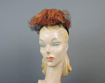 Vintage 1940s Hat Brown Felt Feather Topper Tilt Hat, New York Creations