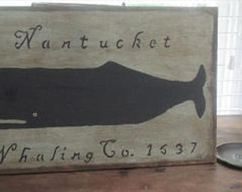 Primitive Wood Sign- Nantucket Whaling Co.