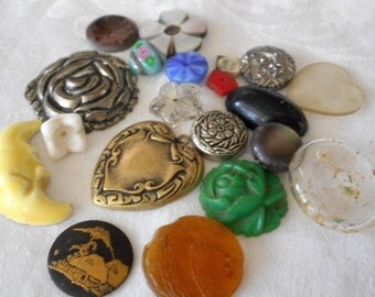 Scrap Lot VINTAGE as is Button & Jewelry Finding Pieces