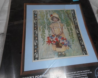 Unopened Vintage Dimensions Crewel Embroidery Rebeccas Portrait 1985 Pattern Kit
