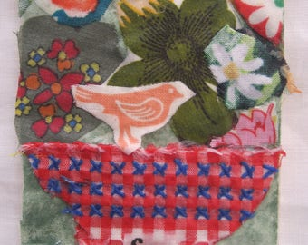 FLOWERS FOR YOU -  Original Fabric Folk Art Collage Assemblage - Recycled Materials -  myBonny