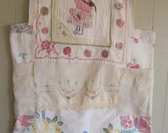 FRENCH PEASANT  Vintage Patchwork COLLAGE Dress -Wearable Fabric Scrap Folk Art - Antique Linens Embroidery- Plus Size xL  - My Bonny
