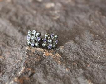 Vintage Rhinestone Earrings, Pierced Earrings, Vintage Earrings, Faux Pearl Earrings, Purple and Gray Earrings, Purple Earrings