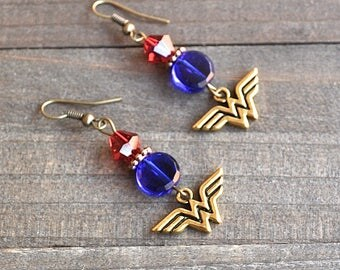 Wonder Woman Earrings  Superhero Style Gold Comic Charms Blue & Red Bead Justice League Fans Megacon Comic Book Lover Earrings