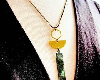 Geometric Necklace, Brass Half Circle, Bohemian, Patina Veridigris Rectangle, Long Brass Chain, Modern Necklace, Gardendiva