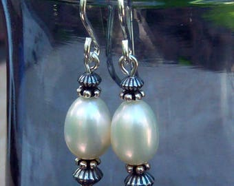 Genuine Freshwater Pearl Dangle Earrings, Sterling Silver, Cavalier Creations