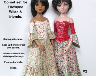 STRAIGHTFORWARD SEWING Pattern SSP-050: Corset set for Ellowyne & friends. Boned corset, easier-to-sew corset, skirt and armlets. All lined