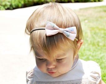 Infant Headbands Fabric Floral Bows,Floral baby headband, floral headbands, Baby Headbands, Baby Girl, Set of 2