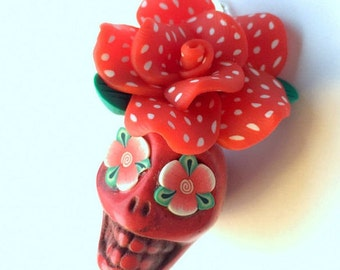 Gigantic Red and White Polkadot Sugar Skull Rose Day of the Dead Ornament or Pendant