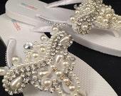 Brianna Bridal Flip Flops Flip Flops - Custom Flip Flops - Dancing Shoes Rhinestone Bridal Sandals Pearl Wedding Flip Flops Wedding Shoes