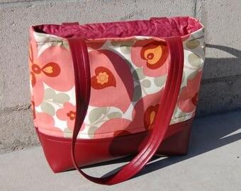 floral pink and burgundy vinyl-bottomed tote bag