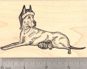 Christmas Great Dane Dog and Tiny Kitten Rubber Stamp, Cat M19602 Wood Mounted