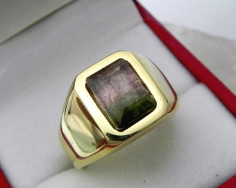 AAA Watermelon Tourmaline 10x7mm  3.09 Carats   Heavy 14K Yellow gold Emerald cut Mans or GENTS ring 15-16 grams 1728