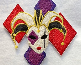 Beautiful Mardi Gras Jester Iron on Applique - Patch - FREE U.S. SHIPPING