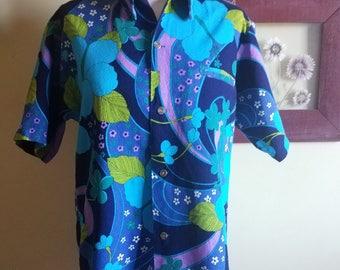 Authentic 1960s Richard Douglas Blue and Purple Hawiian Shirt
