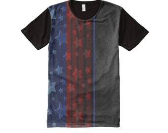 Men's Panel T-shirt in Dark Red Blue USA Stars and Stripes and Charcoal Black Rococo Mixed Pattern
