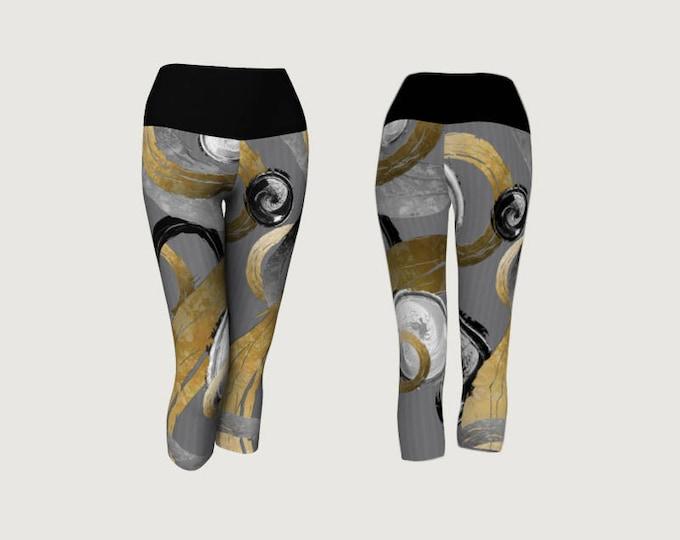 Modern Abstract Yoga Capri Leggings Big Rough Gold Coloured Rings Black and White Swirled Circles on Grey