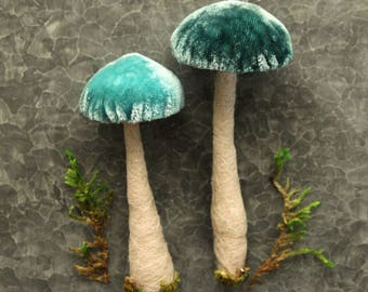 2 {Two} Teal Blue Silk Velvet Toadstool Ornaments -  Needle Felted Wool Woodland Mushroom - Fairy House Terrarium Textile Mushroom