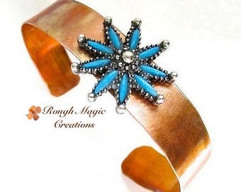 Mixed Metal Cuff Bracelet, Copper Silver Turquoise, Southwestern Cowgirl Jewelry, Gifts for Women, Recycled Star Flower Sunburst B255