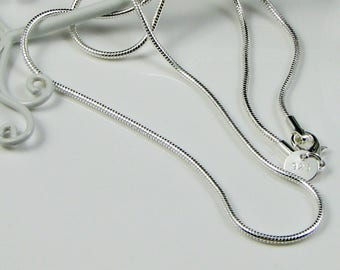 Sterling Silver Snake Chain Necklace 2mm 18 and 24 inch with Clasp; Mens Silver Chain; Pendant finished Chain; Brazilian Hexagon Chain