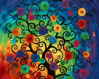 Fantasy Forest Rainbow Tree Timeless Treasures Fabric Panel